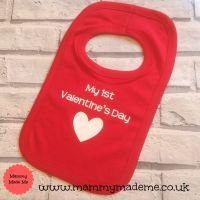 Personalised My First Valentine's Day Printed Bib