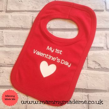 Personalised My First Valentine's Day Printed Bib