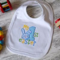 My First Easter Embroidered Bib - Bunny Design