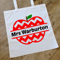 Personalised Chevron Apple Teacher Tote Bag