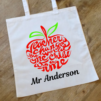 A Teacher Changes the World Personalised Tote Bag