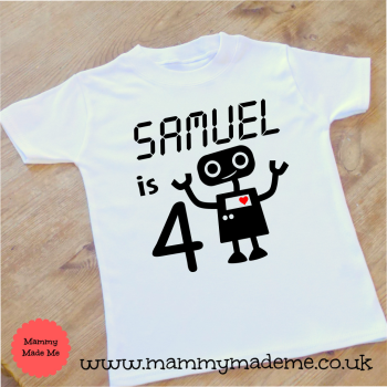 Personalised Robot Age Birthday T-Shirt