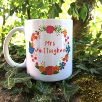 Personalised Teacher Mug, Floral Wreath 1