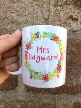 Personalised Teacher Mug, Floral Wreath 2
