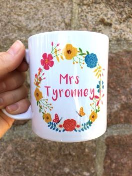 Personalised Teacher Mug, Floral Wreath 3