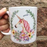 Personalised Teacher Mug, Floral Unicorn
