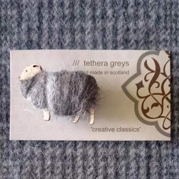 grey sheep brooch