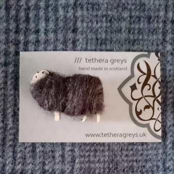 brown sheep brooch