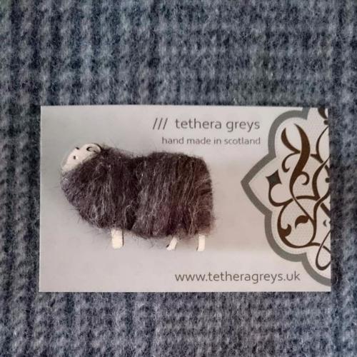 brown sheep brooch