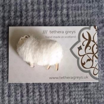 cream sheep brooch