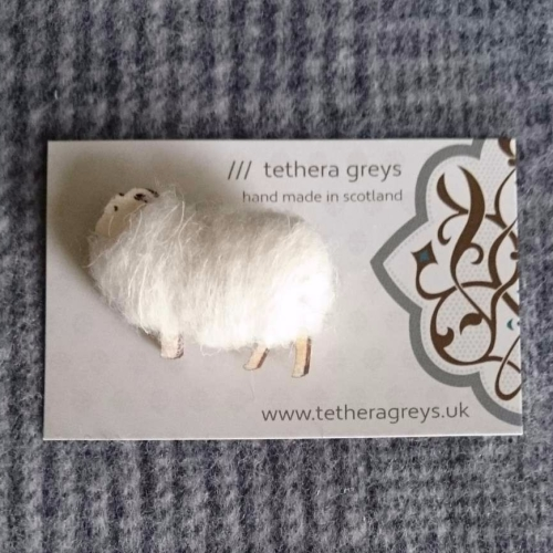 cream sheep brooch