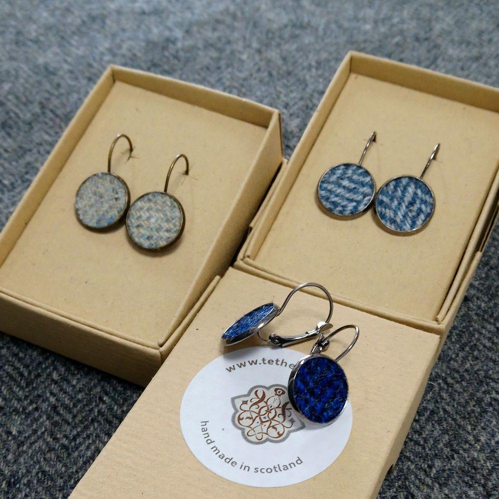 tweed leverback earrings