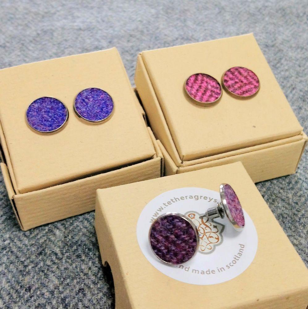 tweed stud earrings