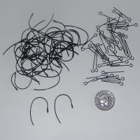 (EB 01V) Black Ear Wires and Gunmetal Eye Pins (20 pairs)