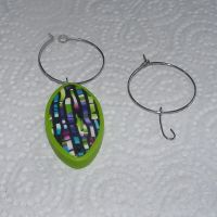 (GC 01) Glass Charms / Ear wires 28 x 25 x 0.6 mm
