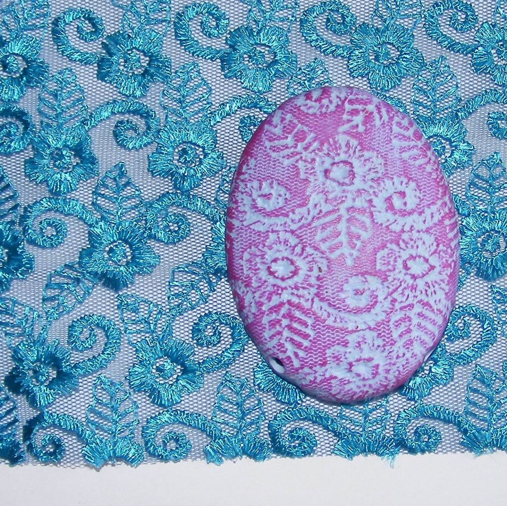 <!--034-->(L34)Lace - Turquoise Flowers