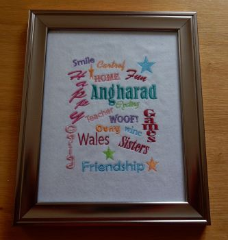 Words of Life bespoke embroidered picture
