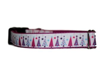 Pink Starry Trees - Medium Clip Collar