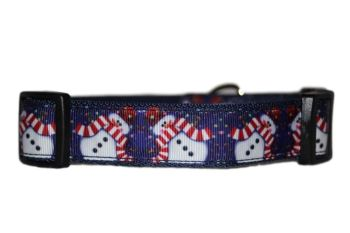 Blue Snowmen - Medium Clip Collar