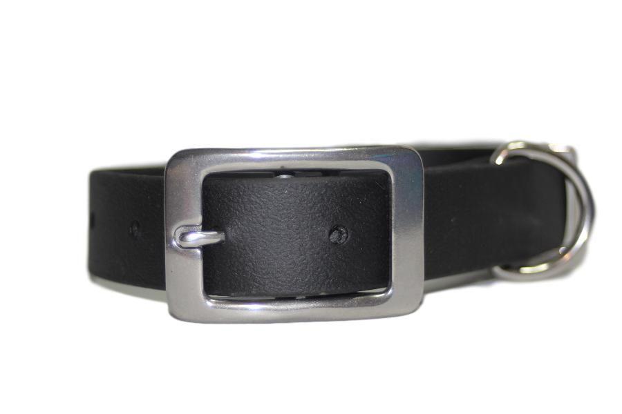 Black Biothane Buckle Collar