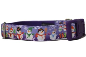 Purple Snowmen - Medium Clip Collar
