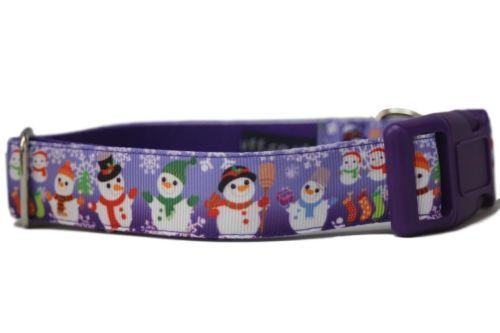 Purple Snowmen - Medium Clip Collar