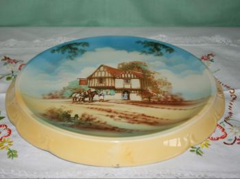 Antique Earthenware Falcon Ware Bread Plate - Old Country Inns c.1936 & Antique \u0026 Vintage Cake / Sandwich Serving Plates