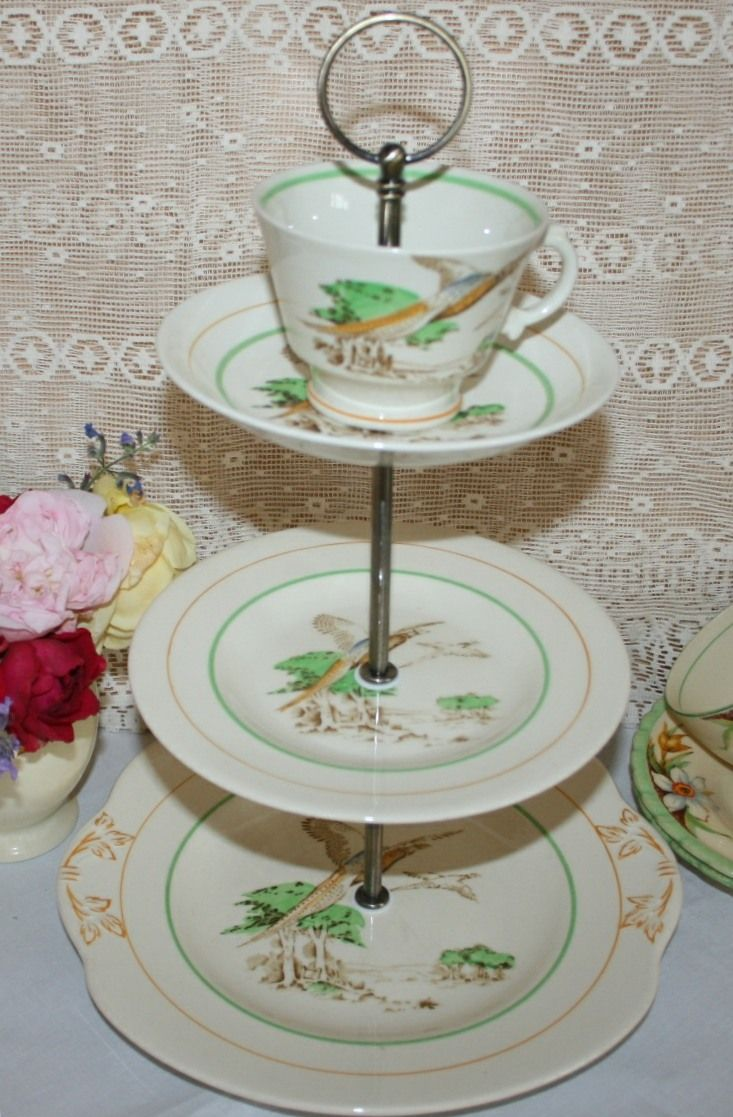 antique vintage art deco quirky cake stand flying pheasants. Black Bedroom Furniture Sets. Home Design Ideas