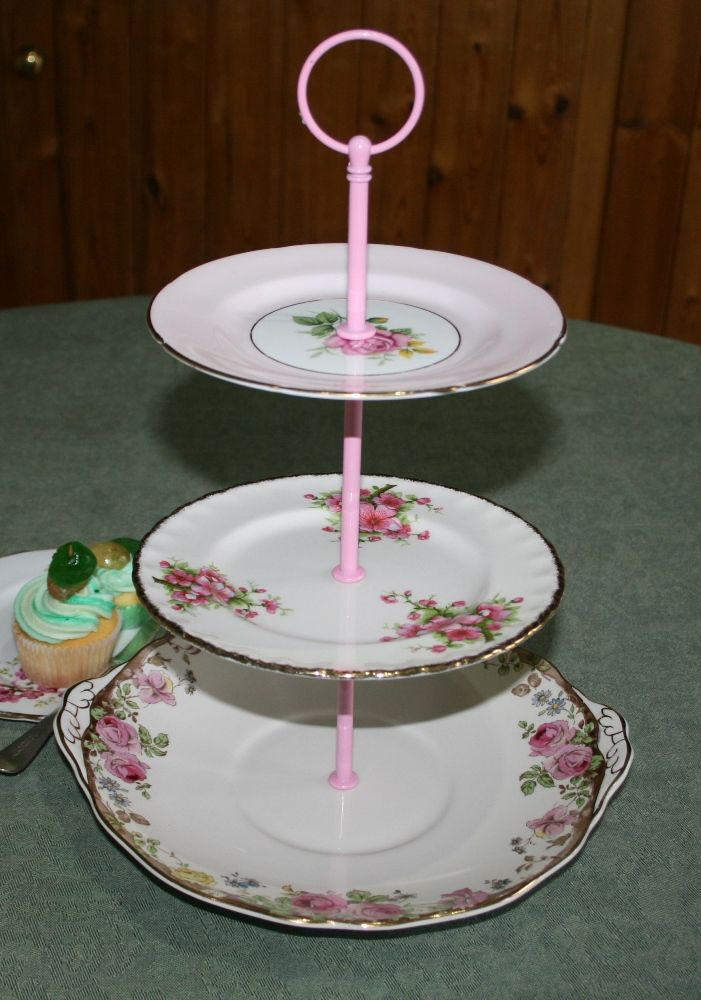 Vintage Shabby Chic Mismatched 3 Tier Cake Stand In Shades