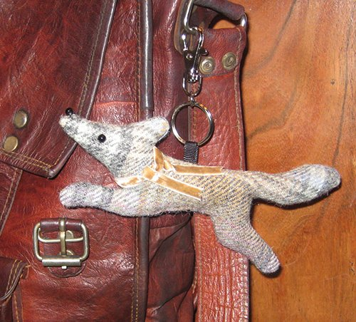 Grey Tweed Fox Keyring