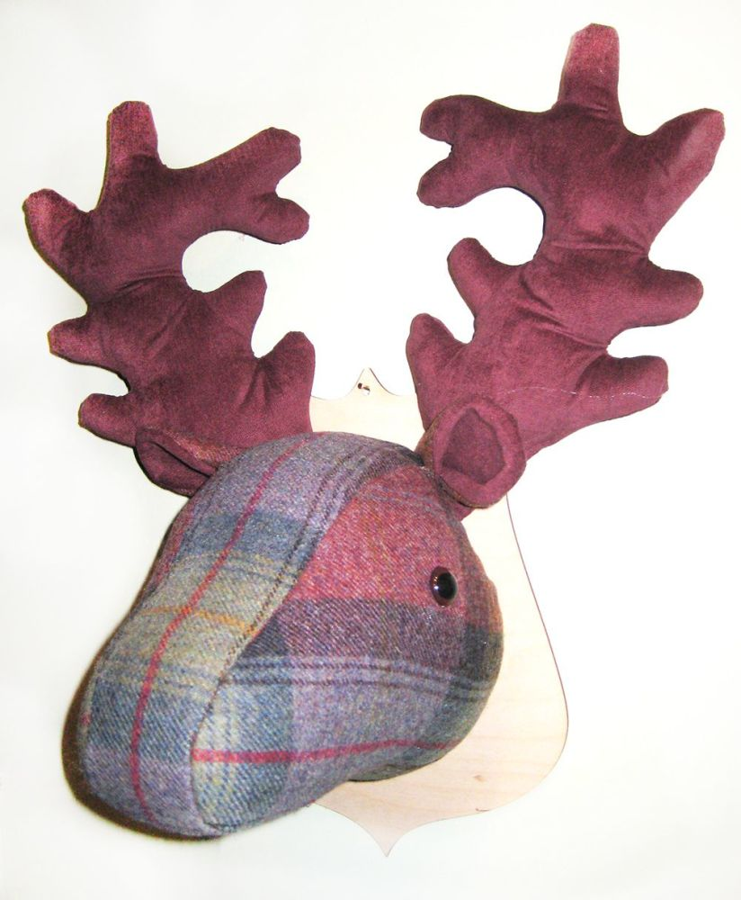 Large Stags Head -  Chestnut and Teal