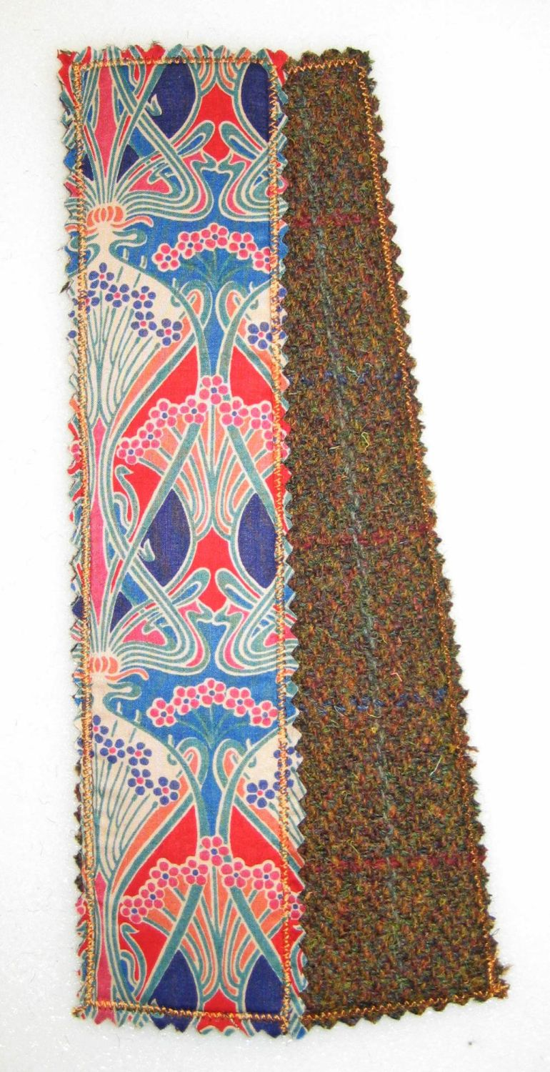 Liberty - Red Ianthe and Harris Tweed Bookmark