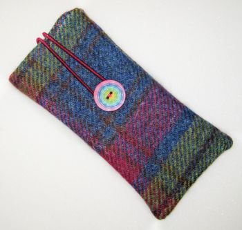 Harris Tweed - Bright Check  and Liberty - Strawberry Thief Glasses Case