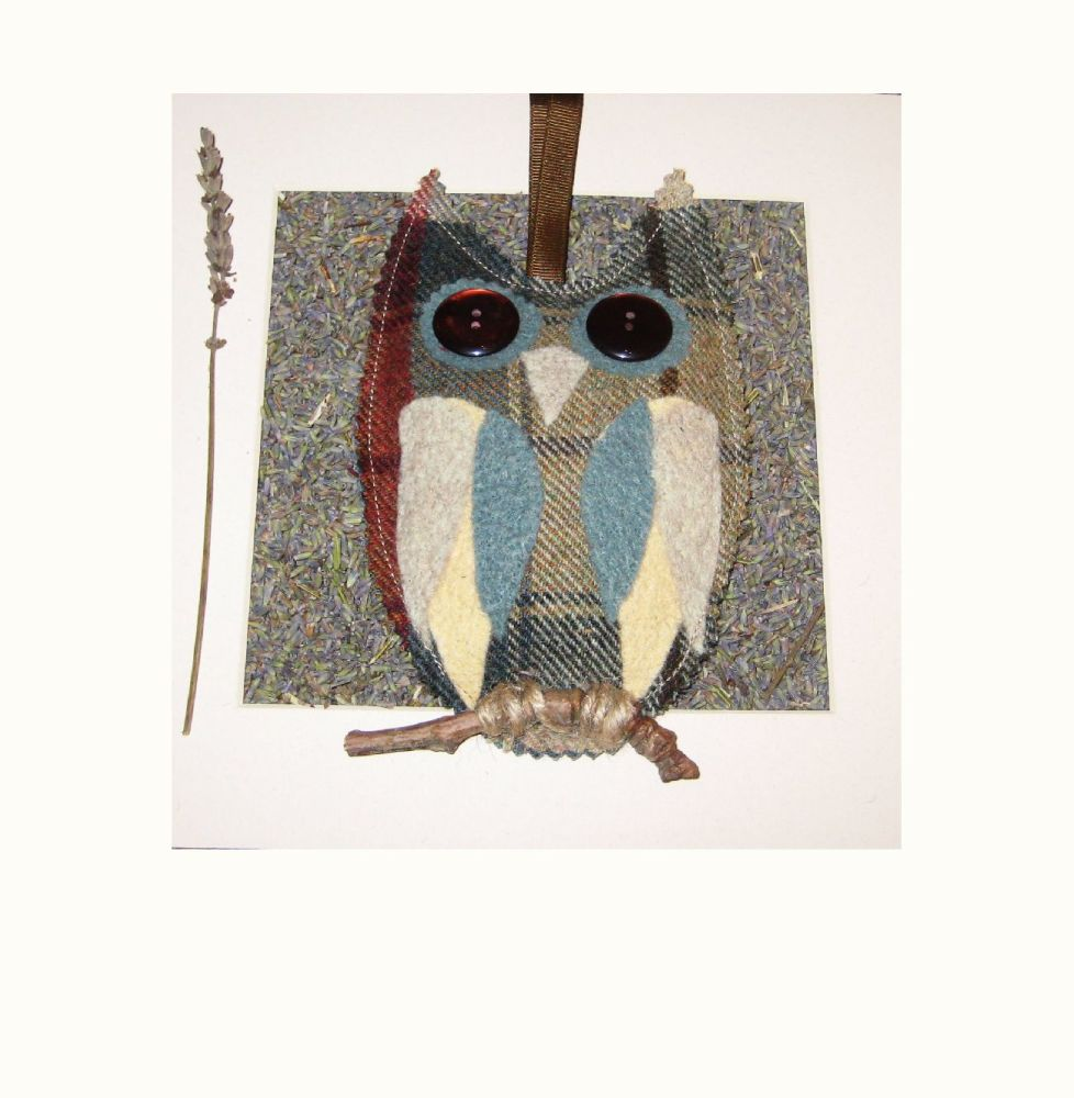 Felted Tweed Yorkshire Lavender Filled Owl -