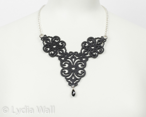 laser cut leather necklace -spirals- in black 2