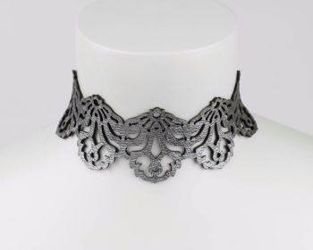 "Leather Choker Necklace - ""Falling Leaves"" - in Silver or Gold Reversible"