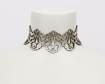 "Leather Choker Necklace - ""Falling Leaves"" - in Silver or Platinum Gold Reversible"