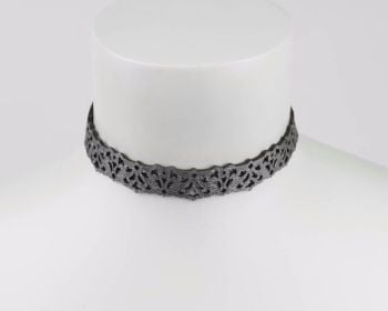 Leather lace choker in Silver-Black Reversible