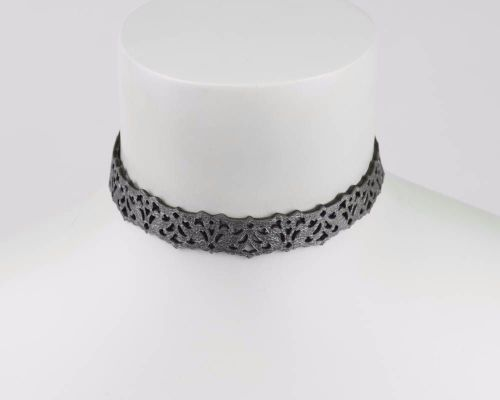 Leather lace choker in White or Silver-Black