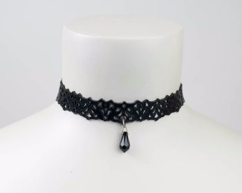 Leather lace choker in Black , Dark red or White with Swarovski drop bead
