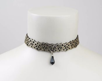 Leather lace choker in Gold-Black or Silver -Black Reversible with Swarovski drop bead
