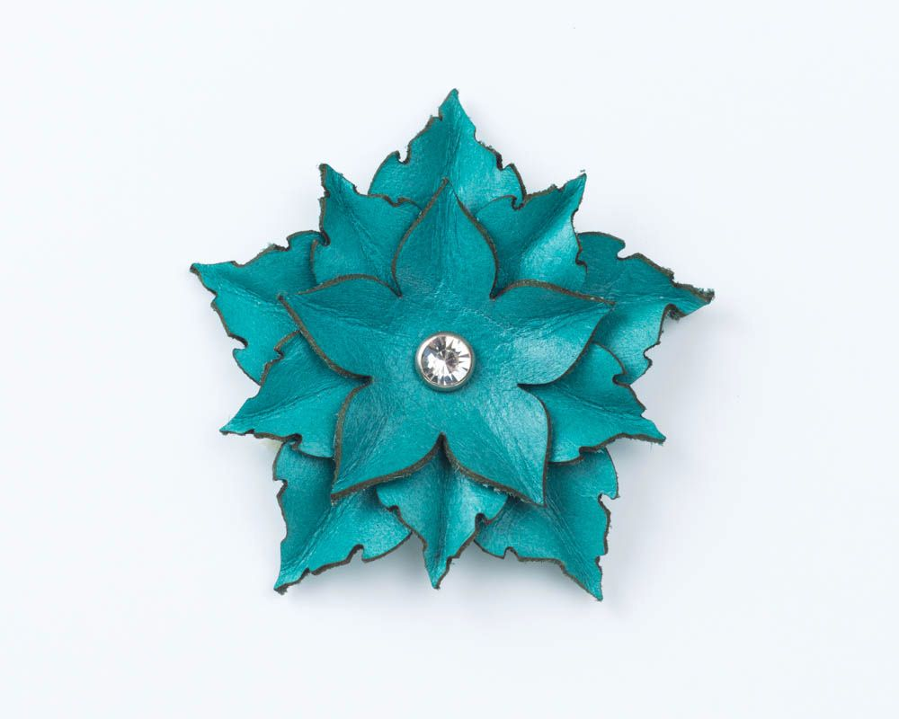 Leather Flower brooch in Purple, Red or Turquoise