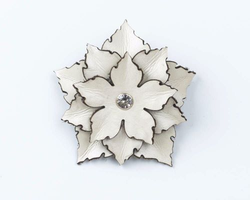 Leather Flower Brooch in Black,White or Dark Brown