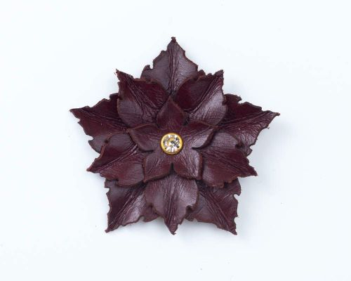 Leather Flower Brooch in Burgundy, Beige or Brown