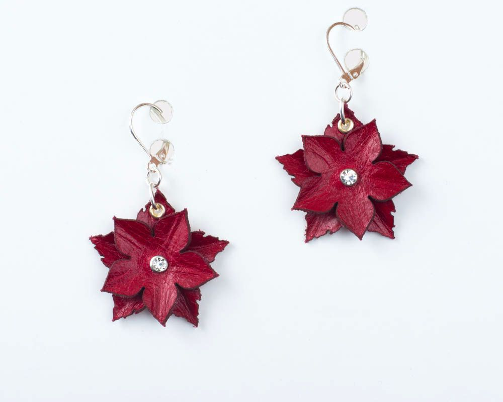 Leather Flower Earrings in Red or Piurple