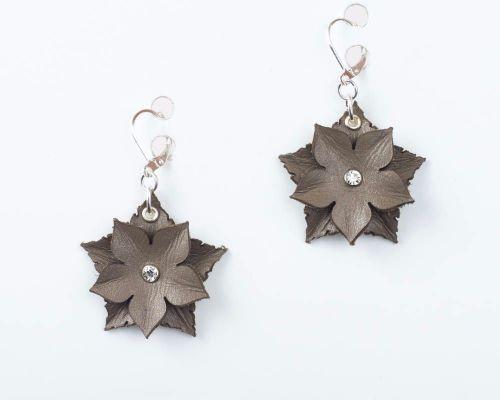Leather Flower Earrings in Beige or Dark Red