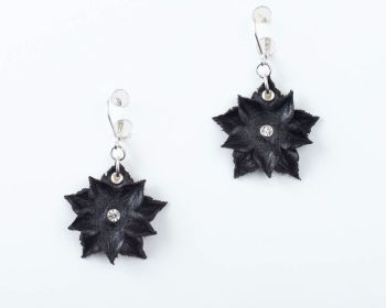 Leather Flower Earrings in Black or White