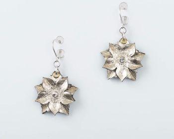 Leather Flower Earrings in Gold or Silver