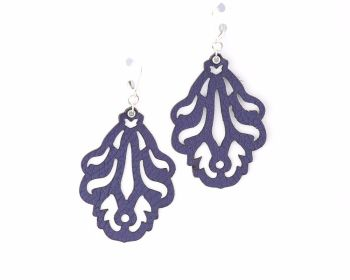 "Laser cut leather earrings ""Falling Leaves"" in Black,Dark Red, White, Purple,Metallic beige or Blue"