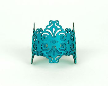 "Laser Cut Leather Cuff  ""Spirals"" in Red, White and Turquoise"